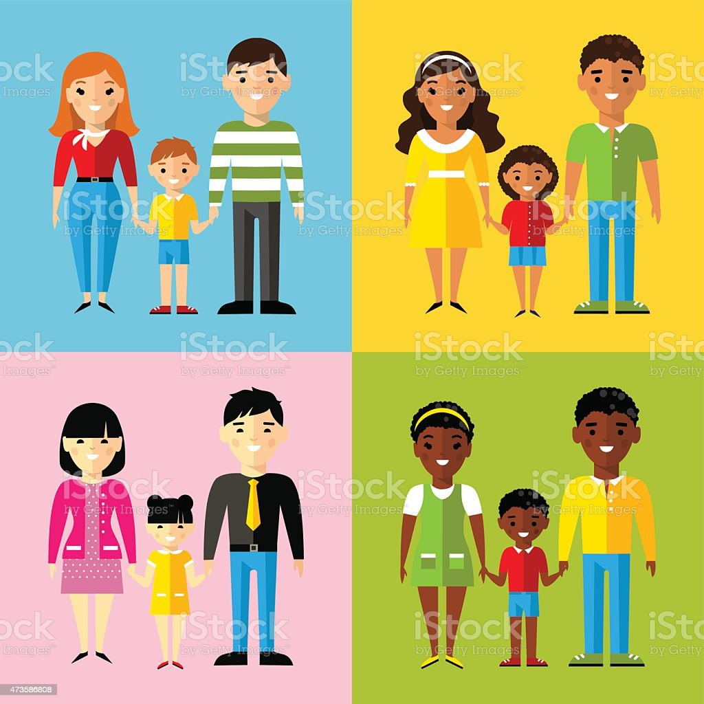 Vector colorful illustration of african american, asian, arab, european family vector art illustration
