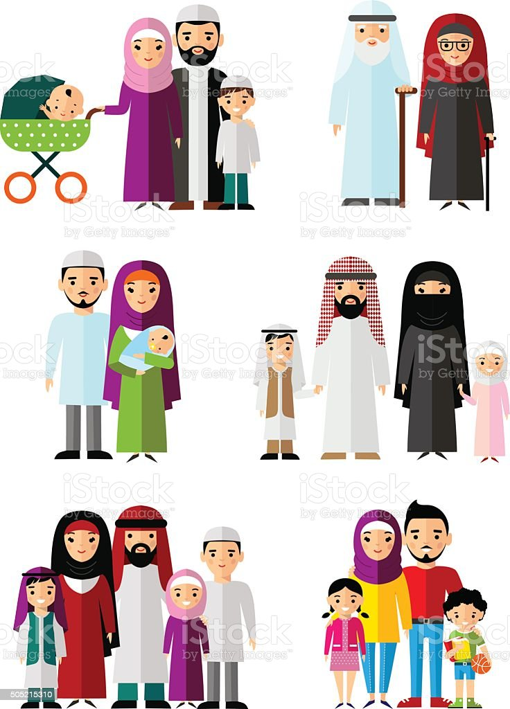 Vector colorful illustration of arab  family in national clothes vector art illustration