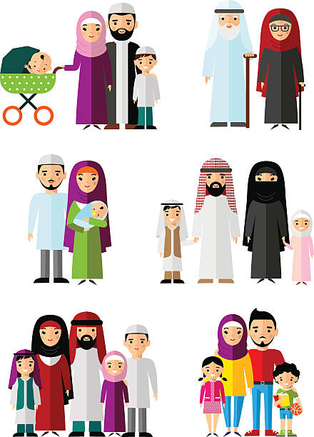 vector colorful illustration of arab  family in national clothes - emirati woman 幅插畫檔、美工圖案、卡通及圖標
