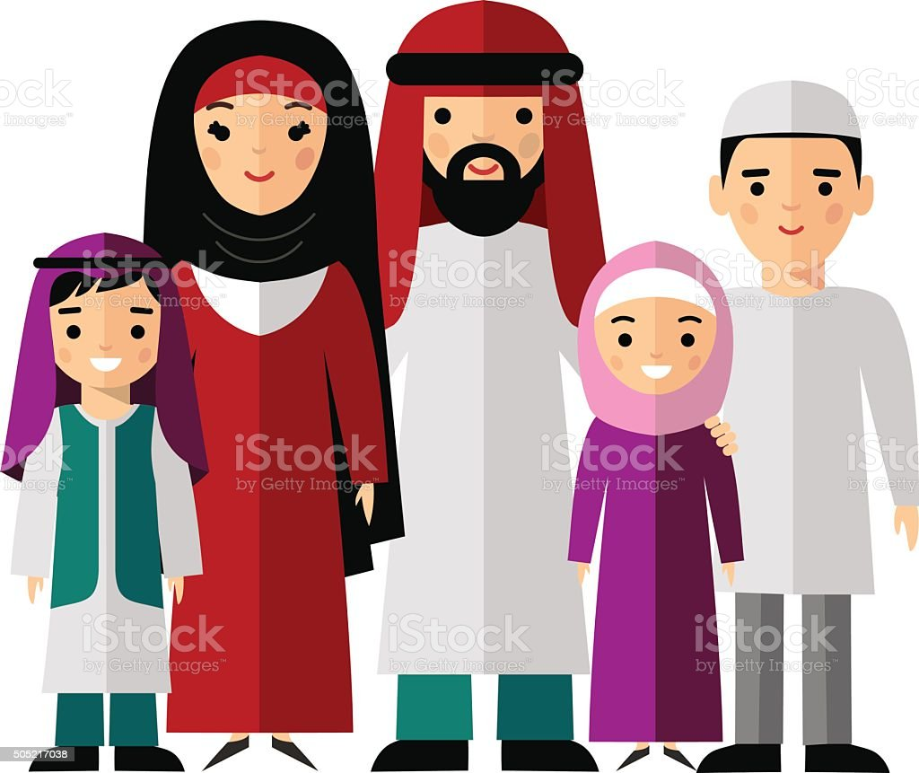 Vector Colorful Illustration Of Arab Family In National Clothes ...