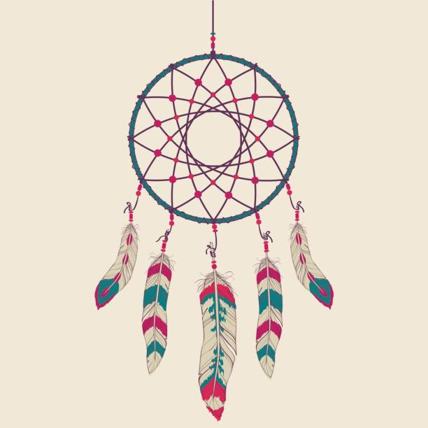 Vector colorful illustration of dream catcher Vector colorful illustration of dream catcher dreamcatcher stock illustrations