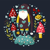 istock Vector colorful illustration of garden gnome. 1295645008