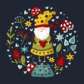 istock Vector colorful illustration of garden gnome. 1295645011