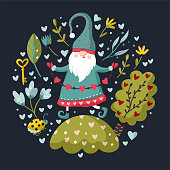 istock Vector colorful illustration of garden gnome. 1295645012