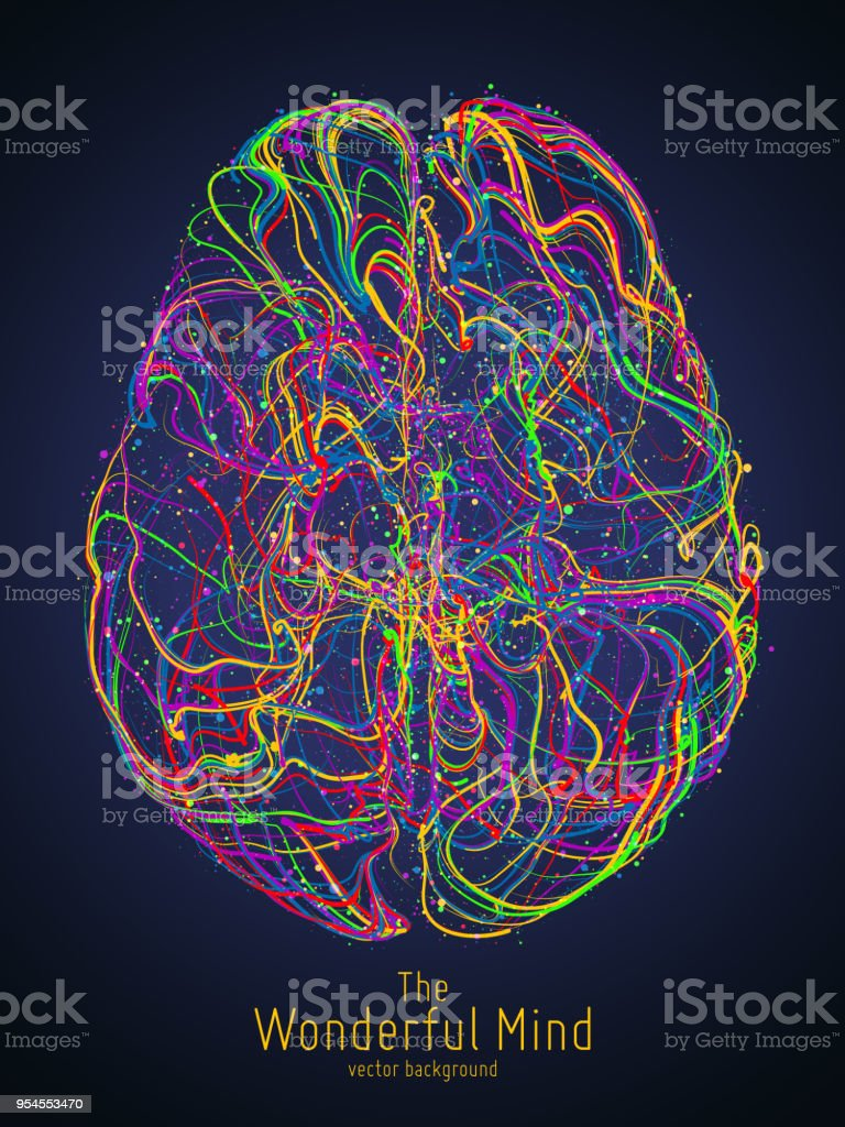 Vector colorful illustration of human brain with synapses. Conceptual image of idea birth, creative imagination or artificial intelligence. Net of lines forms brain structure. Futuristic mind scan. - Royalty-free Abstract stock vector