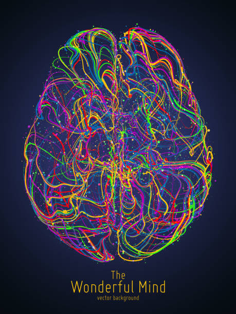 illustrazioni stock, clip art, cartoni animati e icone di tendenza di vector colorful illustration of human brain with synapses. conceptual image of idea birth, creative imagination or artificial intelligence. net of lines forms brain structure. futuristic mind scan. - sfondo artistico