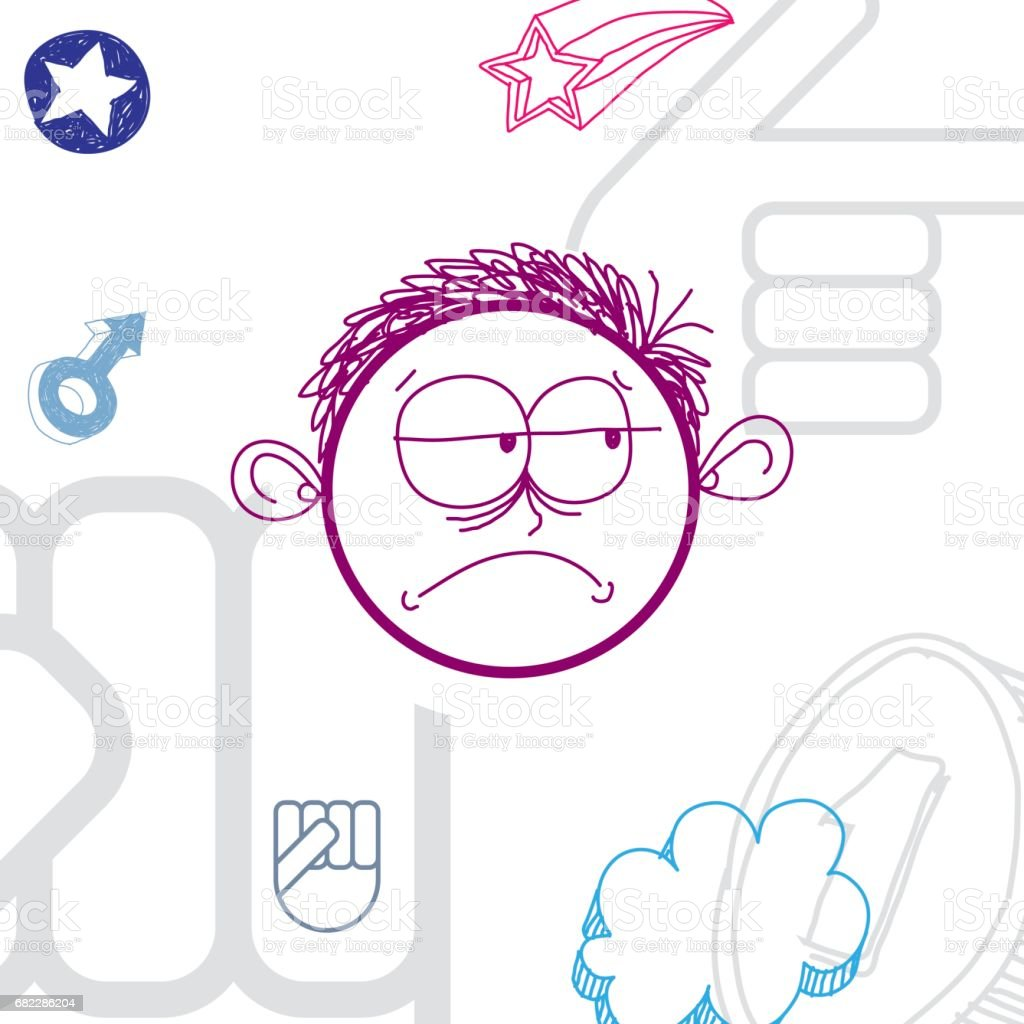 Vector colorful illustration of sad cartoon boy isolated on special background with hand drawn design elements