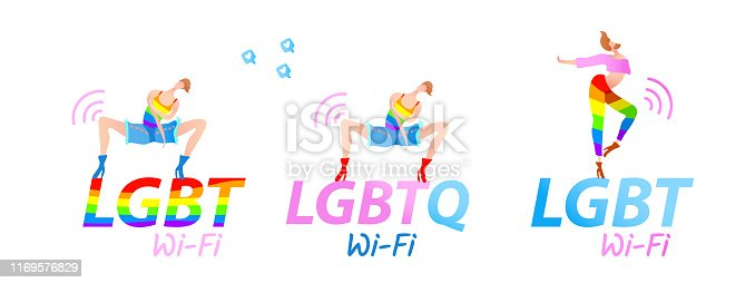 Vector colorful illustration, trendy gay men on heels set with LGBT (LGBTQ) Wi-Fi text. Flat cartoon style, isolated. Applicable for homosexual, transgender concepts, places advertisement, stickers.