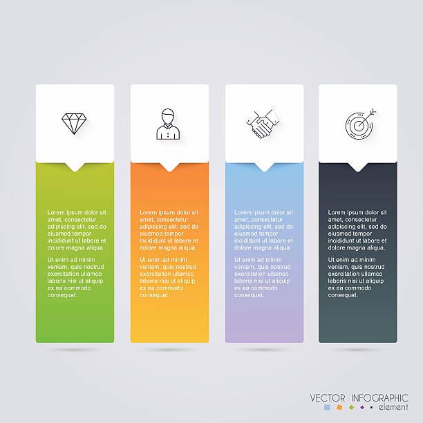 vector colorful info graphics for your business presentations. c - website infographics stock illustrations, clip art, cartoons, & icons