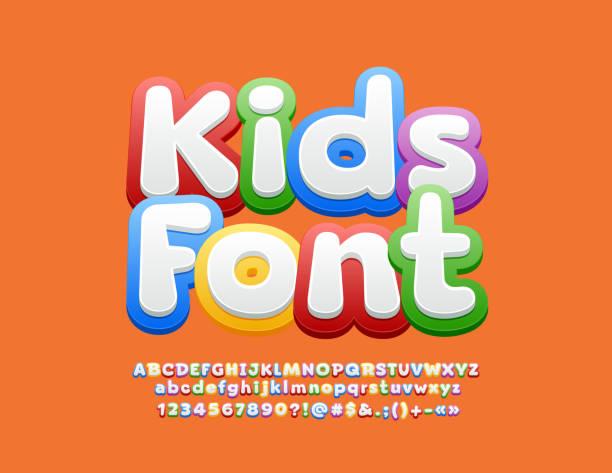 vektor bunte kinder schriftart. helles alphabet-set - kind stock-grafiken, -clipart, -cartoons und -symbole