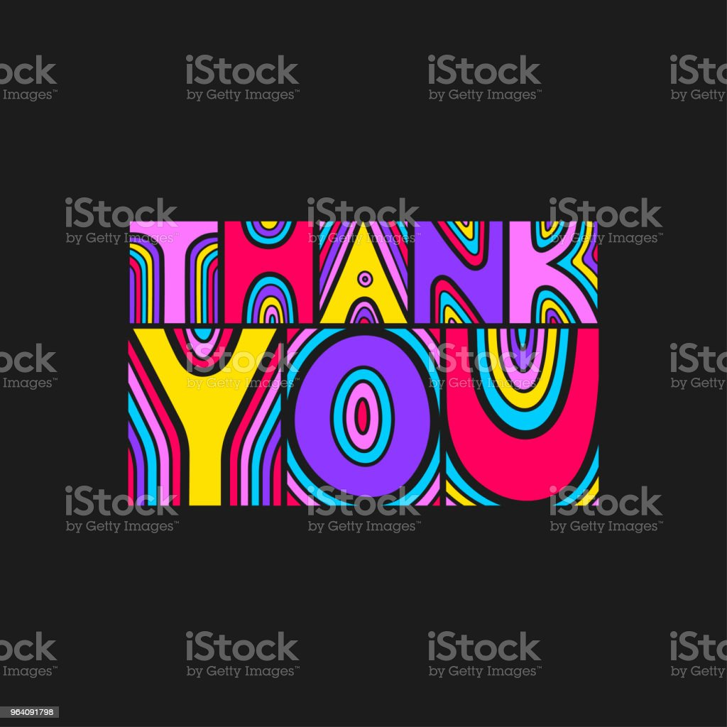 """Vector colorful lettering """"Thank you"""" on a black background. - Royalty-free Abstract stock vector"""
