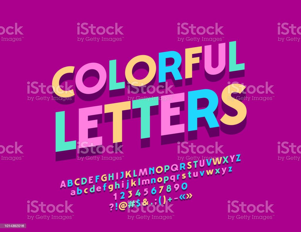 Vector Colorful Letters With Shadow With Alphabet Stock Vector Art ...