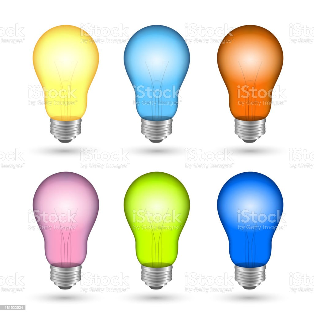 Vector Colorful Light Bulbs royalty-free stock vector art