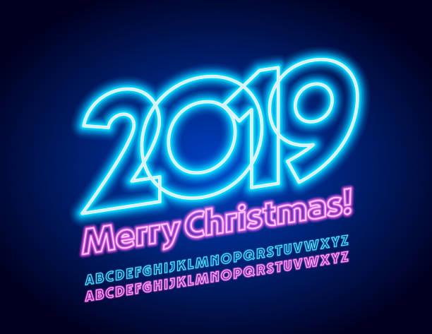 ilustrações, clipart, desenhos animados e ícones de vector cartão colorido feliz natal 2019 com alfabeto de neon - eventos de gala