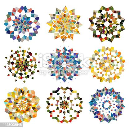 Vector colorful mosaic checked pattern mandala collection