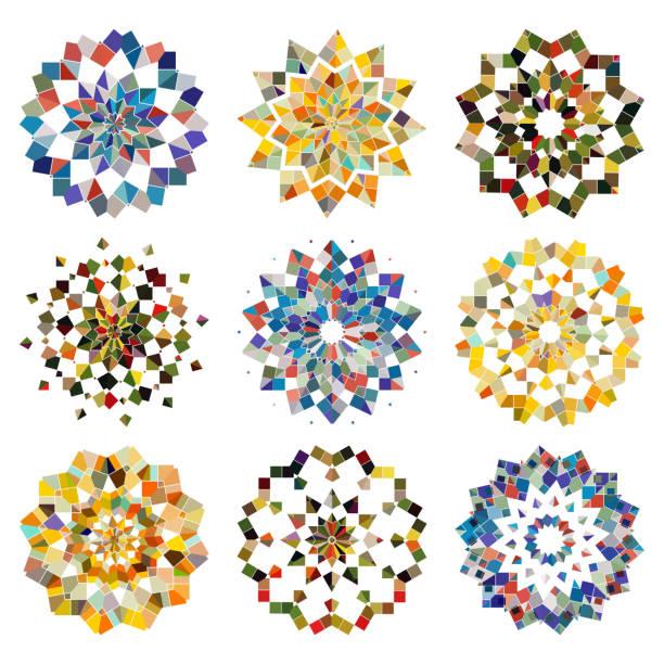 ilustrações de stock, clip art, desenhos animados e ícones de vector colorful mosaic checked pattern mandala collection - mosaicos flores