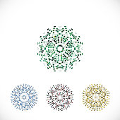 Vector colorful mosaic floral pattern symbol collection