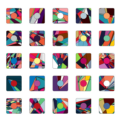 Vector colorful mosaic play buttons collection
