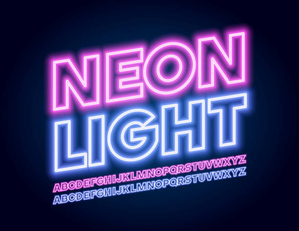 vector colorful neon light font - dyskoteka stock illustrations