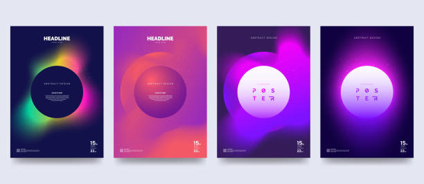 vector colorful neon poster set. circle shape with neon splash. abstract background with liquid gradient. fantastic eclipse. applicable for banner design, cover, invitation, party flyer. - miejsce na tekst stock illustrations