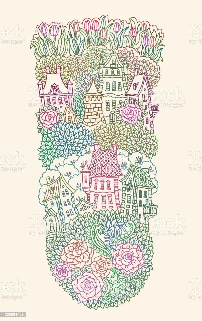 Vector Colorful Outline Contoured Fantasy Landscape Tree Rose Tulip ...