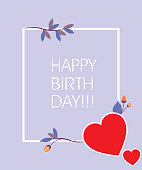 Colorful Paper cut Floral Greeting card. Happy birthday title texts poster design. Frame flowers heart shaped. Trendy Design Template. Vector illustration