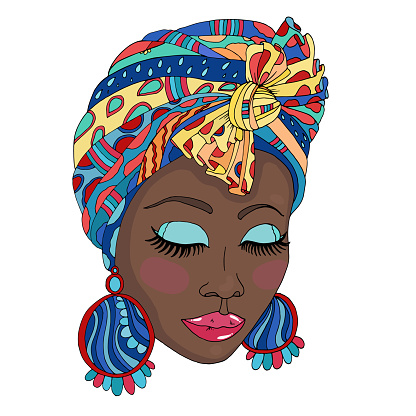 Vector Colorful portrait of a beautiful African American woman in a scarf drape with ornament and a knot on her head. Close up face fashion model with closed eyes and large earrings. Isolated on white