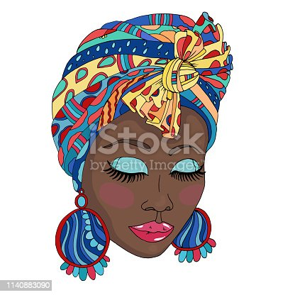 Vector Colorful portrait of a beautiful African American woman in a scarf drape with ornament and a knot on her head. Close up face fashion model with closed eyes and large earrings.