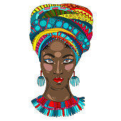 Vector Colorful portrait of a beautiful African American woman in a ornamental draped high scarf and with earrings and a necklace on her neck. Design card, print on t-shirt on white back