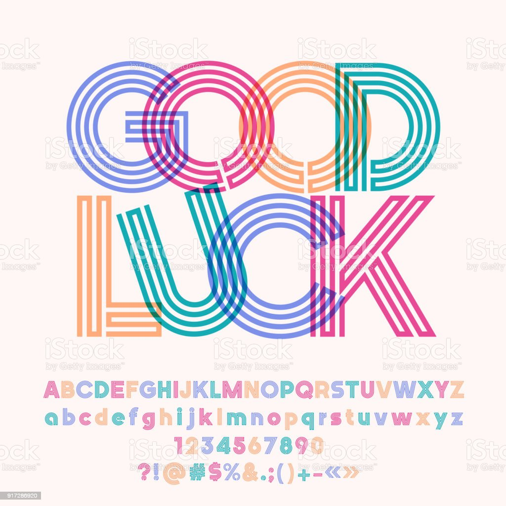 Vector colorful poster Good Luck with Alphabet vector art illustration