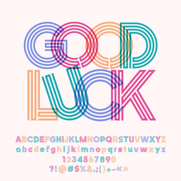 Cartel colorido vector buena suerte con el alfabeto - ilustración de arte vectorial