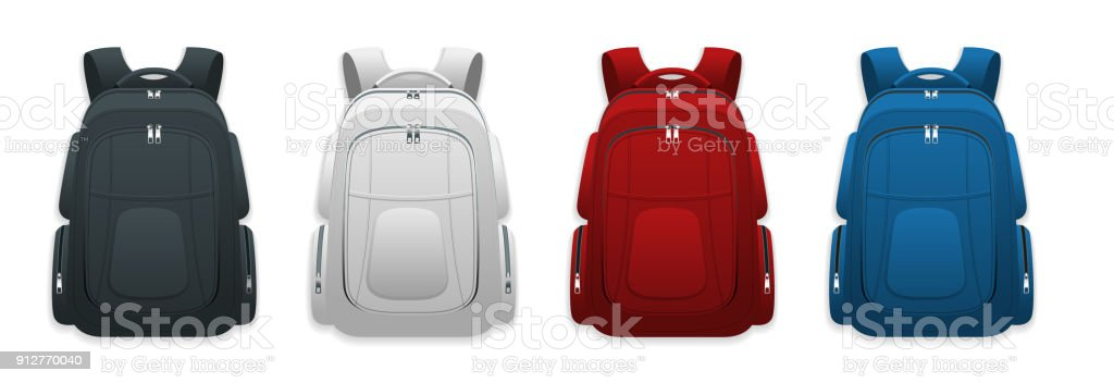 Vector Colorful School Backpacks. Backpacks for schoolchildren, students, travellers and tourists. Back to School rucksack flat vector illustrations isolated on white. векторная иллюстрация