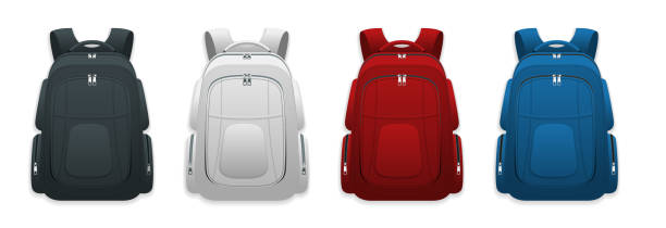Bекторная иллюстрация Vector Colorful School Backpacks. Backpacks for schoolchildren, students, travellers and tourists. Back to School rucksack flat vector illustrations isolated on white.