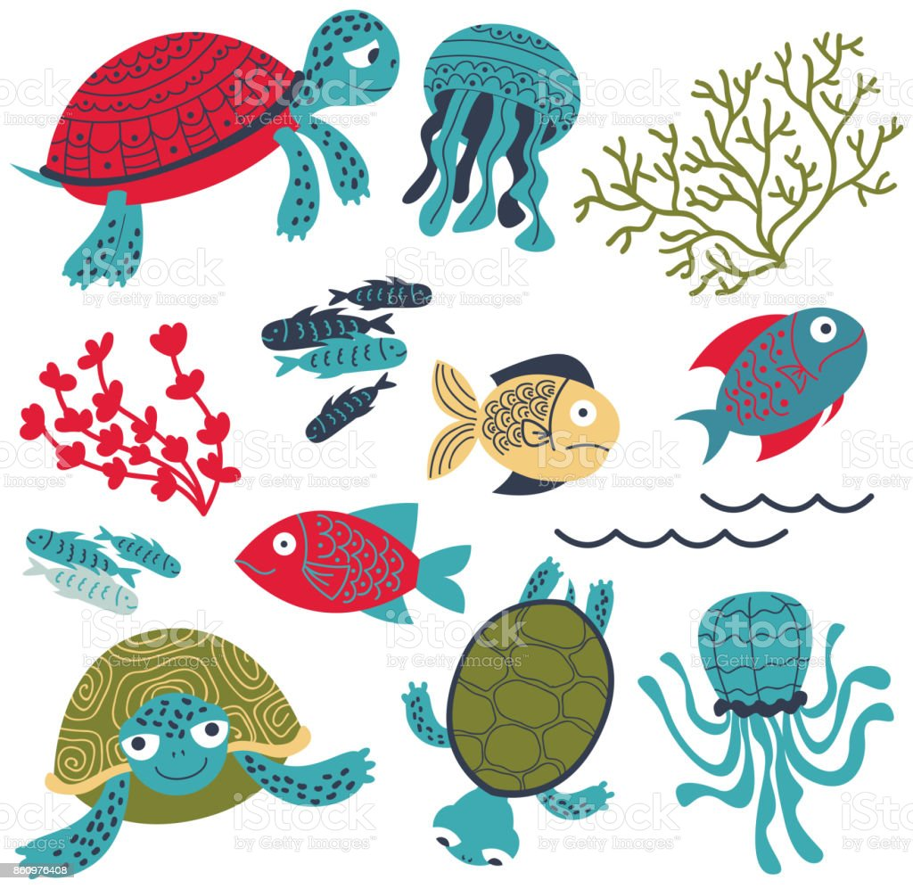 Vector colorful sea turtles with fish and corals set vector art illustration