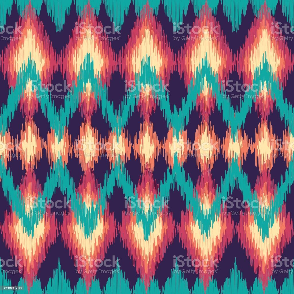 Vector colorful seamless ikat ethnic pattern. Zigzag graphic elemets. vector art illustration