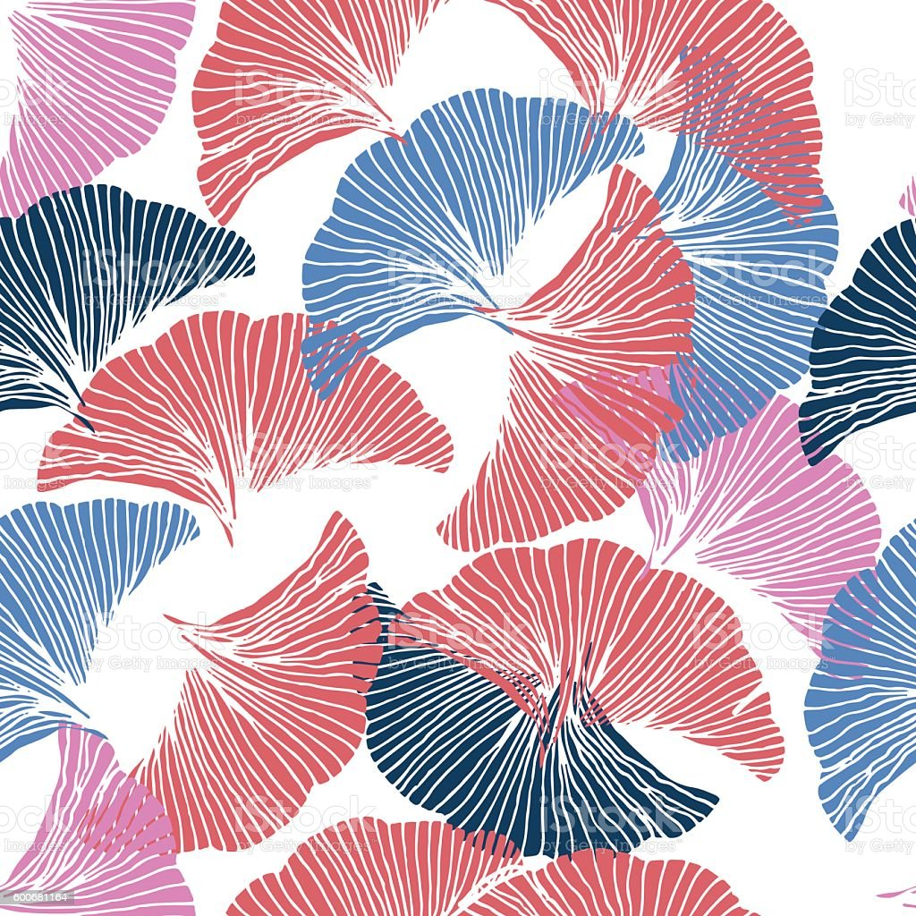Vector colorful seamless pattern. Ginkgo Biloba. vector art illustration