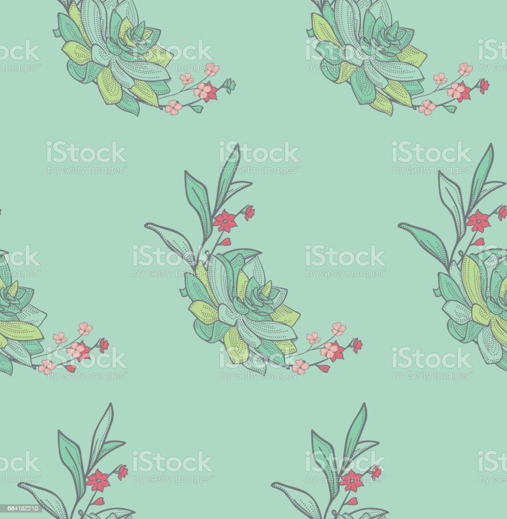 Vector Colorful Seamless Pattern with Drawn Flowers ilustración de vector colorful seamless pattern with drawn flowers y más banco de imágenes de baldosa libre de derechos