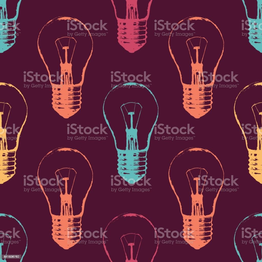 Vector colorful seamless pattern with light bulbs. Modern hipster sketch style. Idea and creative thinking concept. vector art illustration