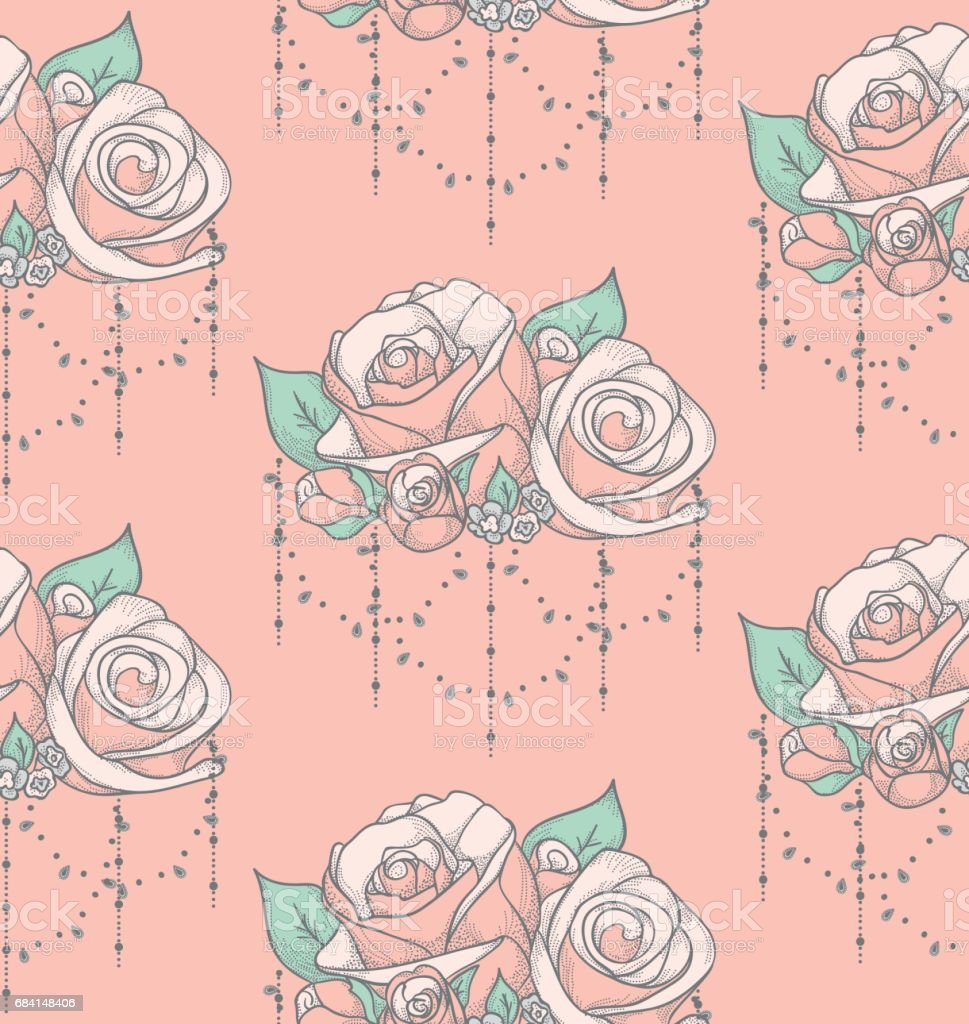 Vector Colorful Seamless Pattern with Roses with Beads royaltyfri vector colorful seamless pattern with roses with beads-vektorgrafik och fler bilder på bildbakgrund
