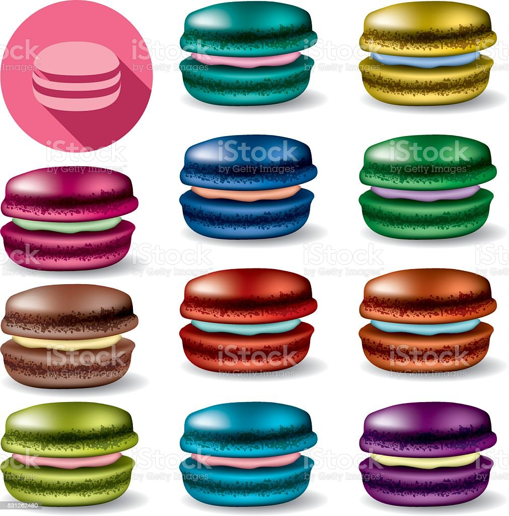 vector colorful set of colorful macarons vector art illustration