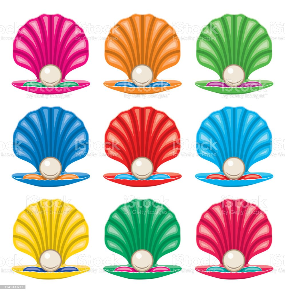Vector Colorful Set Of Pearl In A Shell Icons Stock ...