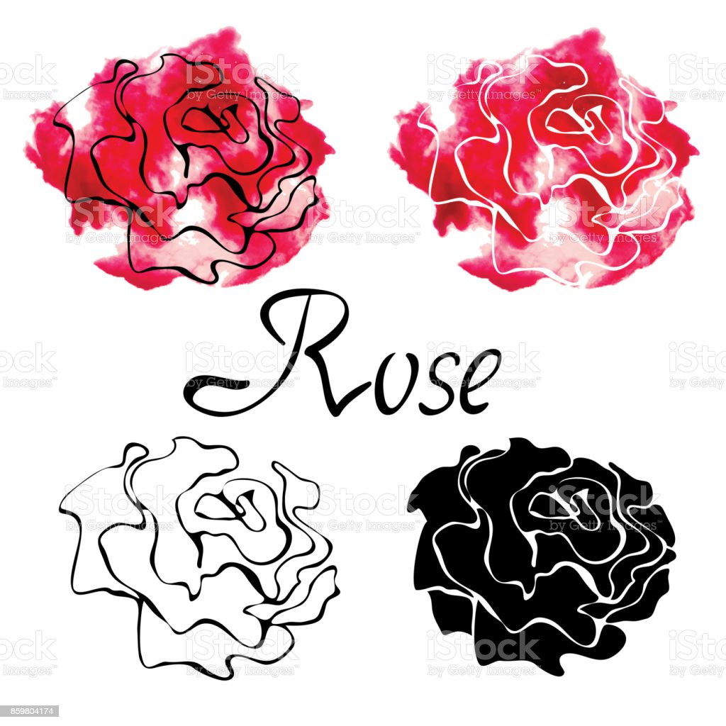 Vector colorful set with roses