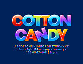 Vector colorful sign Cotton Candy with glossy Alphabet Letters, Numbers and Symbols