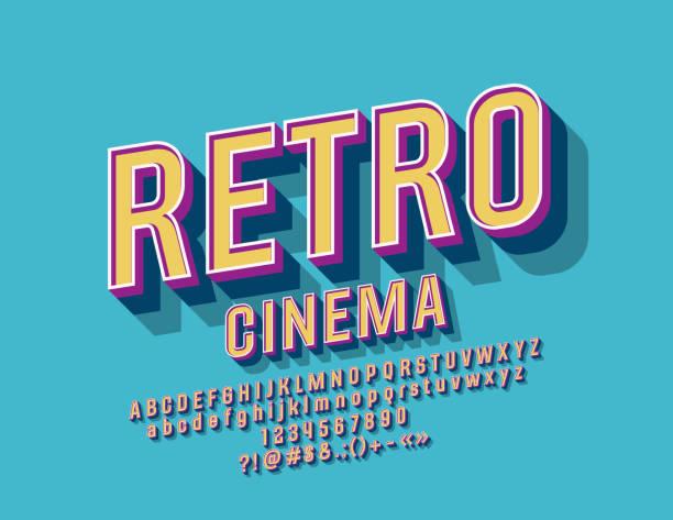 illustrazioni stock, clip art, cartoni animati e icone di tendenza di vector colorful sign cinema retrò con alfabeto - titolo mondiale