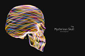 Vector colorful Skull constructed with bright glowing lines. Conceptual human head illustration. Abstract swirl neon lines form bone structure. Creative skull.