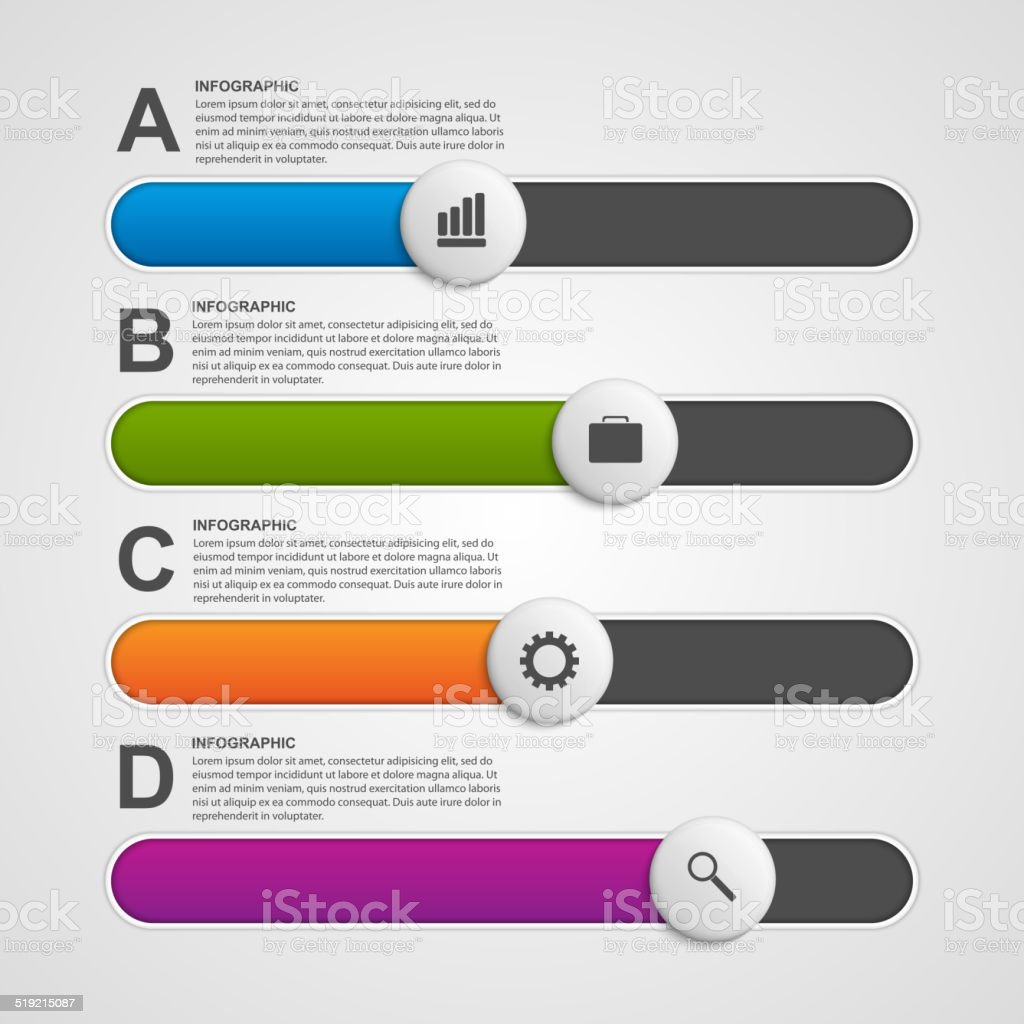 Vector colorful slider business infographic. Design elements. vector art illustration