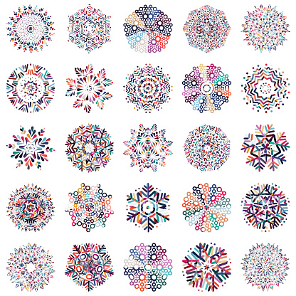 Vector colorful snowflake icon collection