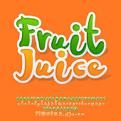 Vector Colorful Sticker style Alphabet with Fruit Juice icontype