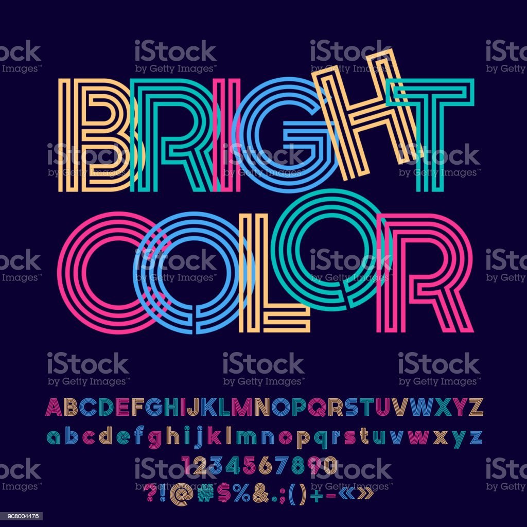Vector colorful symbol with text Bright Color. vector art illustration