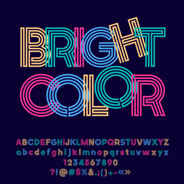 vector colorful symbol with text bright color. - vibrant color stock illustrations